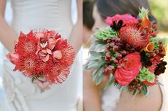 On left: pretty colors and texture, but I wouldn't want the whole bouquet like this - I would like other flowers mixed in.    On the right: a little too much of the extra things in this one and not enough coral.