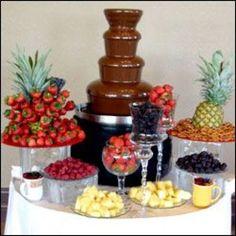 super Ideas for chocolate fountain bar sweet 16 candy buffet Chocolate Fountain Recipes, Chocolate Fountains, Chocolate Fountain Wedding, Candy Table, Candy Buffet, Dessert Bars, Dessert Table, Fruit Tables, Buffets