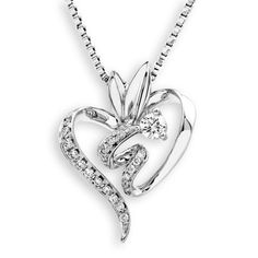 Amazon.com: 18K/750 White Gold Heart Solitaire Diamond Pendant W/925 Sterling Silver Chain (0.14 cttw, G-H Color, SI1-SI2 Clarity): Jewelry