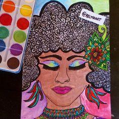 "13 curtidas, 2 comentários - @relmaart no Instagram: ""Black power #blackart #black #blackpower #blackwoman #art #drawing 💙🌸"""