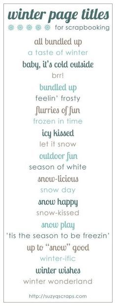 winter scrapbook ideas | winter scrapbook page titles by kari