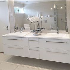 All white bath Interior Styling, Interior Decorating, Interior Design, Family Bathroom, Grand Designs, Bathroom Inspo, Double Vanity, Interior Inspiration, Sweet Home