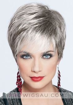 Joan Collins Cropped Straight Synthetic Grey Wigs