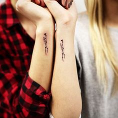 """Tattoos feel a little less painful when your BFF is sitting next to you. """"Pairs don't happen a lot, but when they do, it's generally a lot of fun,"""" says Daniels. More often than not, they tend to be siblings or best friend (or both). Check out our firsthand account of the best-friend tattoo trend here."""