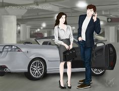 In Fifty Shades of Grey, June 18 is Christian Grey's birthday. So I decided to mark the occasion by creating an illo at the moment he receives an early gift from Ana!