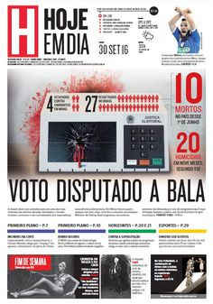 Capa do dia 30/09/2016 #HojeEmDia #Jornal #Notícias #News #Newspaper