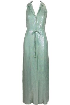 Halston '70s Sequined Mermaid Gown in Seafoam Green, $4,500, available at The Way We Wore on 1stdibs .