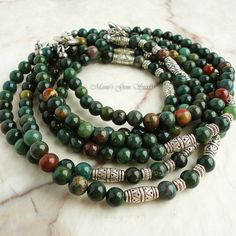 Bloodstone Mens Beaded Necklace Green Gemstone by mamisgemstudio