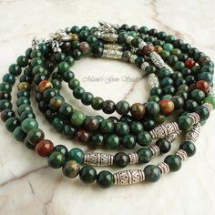Bloodstone Mens Beaded Necklace Green Gemstone by mamisgemstudio