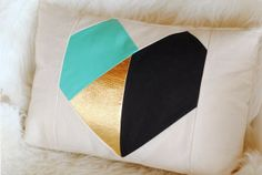 My cute friend Stacy's cute geometric heart pillow (& sewing pattern for it)