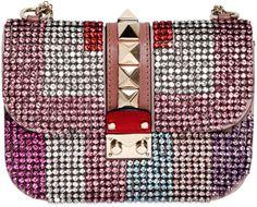 Valentino Pink Small Lock Multicolor Rhinestone Bag