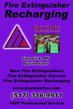 Fire Extinguisher Recharging Fenwick (517) 316-9911 Discover the Complete Source for Fire Protection Equipment and Service.. We're Boynton Fire Safety Service!! Call us Today!