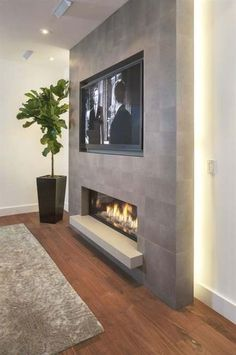44 Trendy Living Room TV Wall Modern Fireplace, You are in the right place for home decor items When it comes to d Fireplace Tv Wall, Basement Fireplace, Fireplace Remodel, Fireplace Design, Wall Fireplaces, Cute Living Room, Living Room Tv, Living Room With Fireplace, Tv On Wall Ideas Living Room
