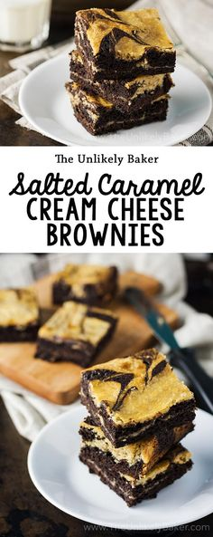 These salted caramel cream cheese brownies are all your favourite things in one . These salted caramel cream cheese brownies are all your favourite things in one luxurious bite. These will, literally, earn you all the brownie points you will ever need! Best Dessert Recipes, Easy Desserts, Sweet Recipes, Delicious Desserts, Bar Recipes, Brownie Recipes, Cookie Recipes, Cheesecake Oreo, Cream Cheese Brownies
