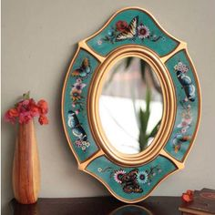 Shop for Handcrafted Glass 'Turquoise Butterfly' Mirror (Peru). Get free…