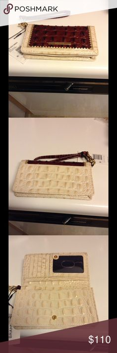 Brahmin Debra Pecan Soriano Wallet Brand new beautiful wallet wristlet in pecan and creme leather. NWT Brahmin Bags Wallets