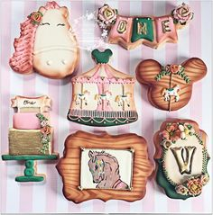 """Tonilyn on Instagram: """"Mixed theme Minnie/carousel birthday cookies 💗#edibleart #minnie #carousel #birthday #chic #vintage #pink #sweetreats #customsweets…"""""""