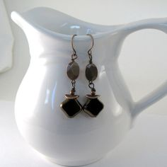 Black Copper Earrings Czech Glass Diamond Shape by CinLynnBoutique, $17.00