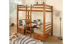 Twin Over Twin Table Convertible Bunk Bed