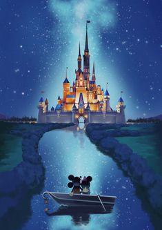ArtStation - Disney Castle, Yaiza Ahsen Deserio Chateau Disney, Disney Background, Mickey Mouse Background, Disney Drawings, Disney Castle Drawing, Disney Character Drawings, Disney Artwork, Drawing Cartoon Characters, Disney Fun