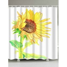 0793852ab96 Free shipping 2018 Sunflower Watercolor Extra Long Shower Curtain WHITE W  INCH L INCH under  18.75