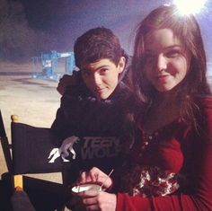 Ian Nelson, who plays young Derek Hale, and Madison McLaughlin, who plays Derek's first love Paige, on the set of Teen Wolf!