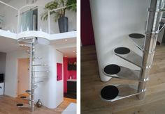 nice very compact circular staircase, emphasized by the clear glass landing at the top