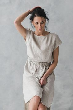 b77f3dd7c1 Soft Linen Dress with Pockets   Summer Linen Dress   Women Linen Dresses