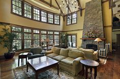 Beautiful double height living room. Country club or hunting lodge style. #homeandstyleliving