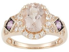 Cor-de-rosa Morganite, Pink Sapphire And White Topaz 2.27ctw Oval And Round 10k Rose Gold Ring