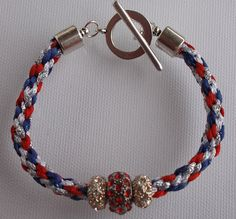"""$10 Independence Day Sale $10 !!  Red, White and Blue 8 inch Kumihimo Bracelet """"I Love the USA"""""""