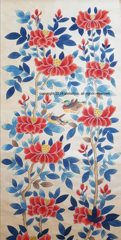 Korean Painting, Butterfly Art, Design Elements, Peonies, Folk Art, Paint Colors, Watercolor Paintings, Stencils, Projects To Try