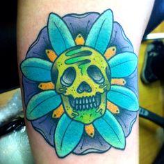 """#tattoo #skull #skullflower"""