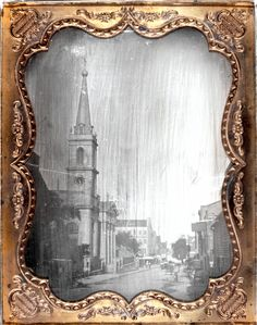 Title: Old Cathedral. Walnut Street looking East from Third Street.  Description: Old Cathedral. Walnut Street looking East from Third Street.  Place:  Dates: 1848  Type(s): photo, Daguerreotype  Maker/Creator: Thomas M. Easterly