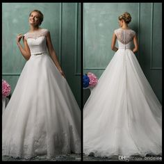 Wholesale Wedding Dresses - Buy Amelia Sposa 2014 New Style Scoop Neck Wedding Dresses Cap Sleeve Illusion Back A-Line Organza White Wedding Gowns With Lace Applique Beads, $120.66 | DHgate