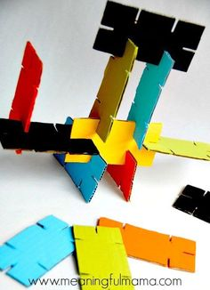 DIY Cardboard Stackers - Homemade Building Toys for Kids made from Recycled Materials