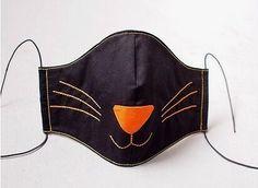 face mask design Black Cat M - facemask Kawaii Cosplay, Cat Cosplay, Nose Mask, Cat Face Mask, Face Masks, Harajuku, Mouth Mask Fashion, Pocket Pattern, Fashion Accessories
