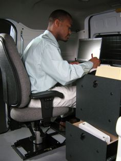Mobile Office being used in a Ford Transit Connect. GoErgo.com
