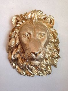 Faux Taxidermy Lion Head Gold Decorative Ceramic by FoundandSouled, $81.99 For my bedroom closet!