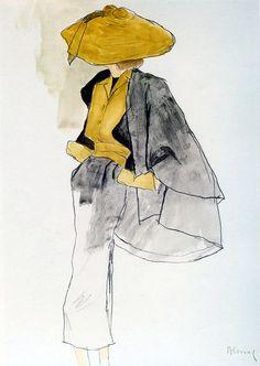 A sketch by Bernard Blossac for Dior, 1950.