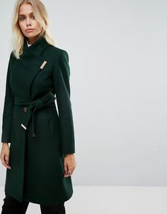 Ted Baker Long Wrap Coat with Collar