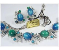 CORO ~ Thermoset & Rhinestone Blue & Green Moonglow Necklace & Earrings Set ~ With Original Tag - FREE SHIPPING $39  http://www.findmetreasure.com/shop/touchingthepastantiques/index.php/vintage-jewelry/coro-thermoset-and-rhinestone-blue-and-green-moonglow-necklace-and-earrings-set-with-original-tag.html
