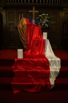 decor for pentecost | Pentecost red fabric installation at RCC