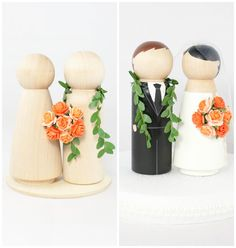 DIY Hawaiian Wedding Cake Topper Set - 2 unfinished wooden peg dolls, 1 flat wooden circular base, 1 maile lei, 1 tiny coral rose bouquet
