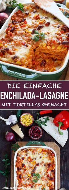 Mexikanische Enchilada Lasagne - emmikochteinfach - - Mexikanische Enchilada Lasagne – emmikochteinfach Rezepte: Pasta, Gnocchi & Co. Enchiladas Mexicanas, Pasta Recipes, Chicken Recipes, Dinner Recipes, Potato Recipes, Salad Recipes, Enchilada Lasagne, Mexican Enchiladas, Mexican Lasagna