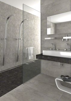 KENION are porcelain tiles imitation concrete, perfect for your bath. | VIVES Azulejos y Gres S.A.