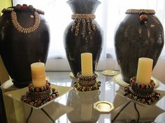 more jars and candle rings by Igizia Polloni, an Italian artist who lives in Lagos, Nigeria and is inspired by African beads Africa Decor, Candle Rings, African Beads, Italian Artist, New Home Designs, Beautiful Homes, New Homes, Wedding Inspiration, Stylists