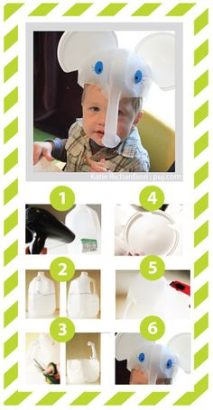 Easy to make elephant hats made from recycled material.
