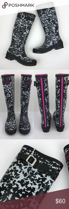 """[Joules] Floral Printed Wellies Rain Boots Tall 8 Classic tall rain boots. Pull on style. Black and gray Floral print with pink stripe accents and lining. Logo on top front. UK 39. US 8.  🔹Shaft Height: 15"""" 🔹Heel Height: 1"""" 🔹Calf Circumference: 16"""" 🔹Condition: NWT. New and never worn. Joules Shoes Winter & Rain Boots"""