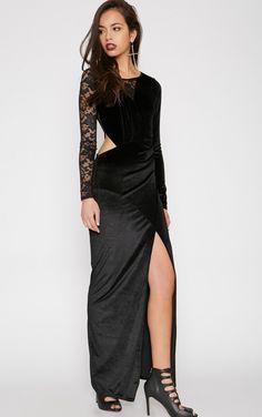 Sabrina Black Velvet Lace Maxi Dress